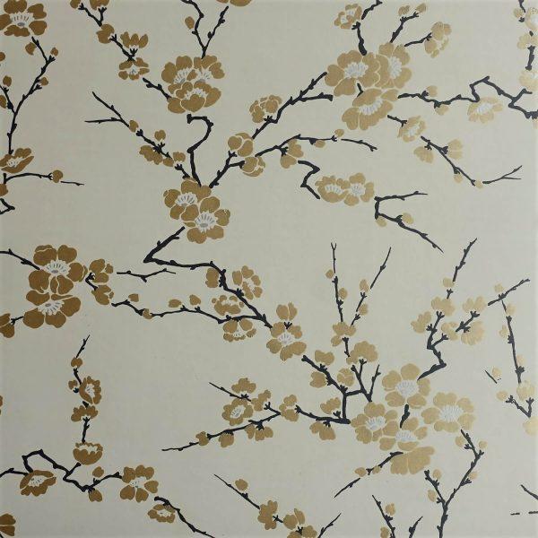 Cherry Blossom on Wheaten Custom Wallpaper