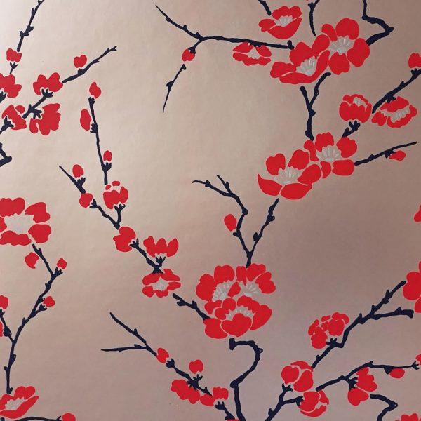 Cherry Blossom on Rose Custom Wallpaper