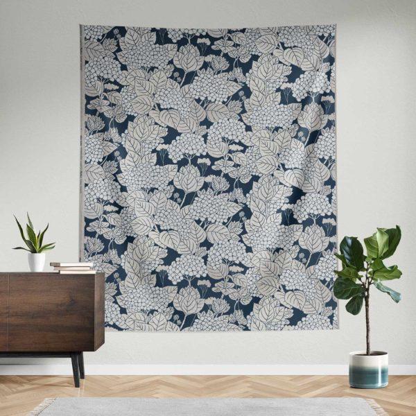 Hydrangea handprinted fabric