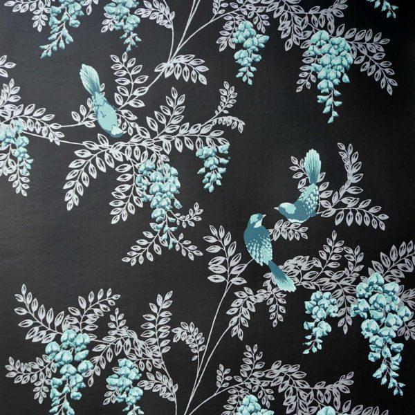 Wisteria Birds on Midnight Custom Wallpaper