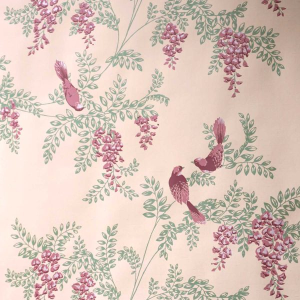 Wisteria Birds on Pink Silk Slub Custom Wallpaper