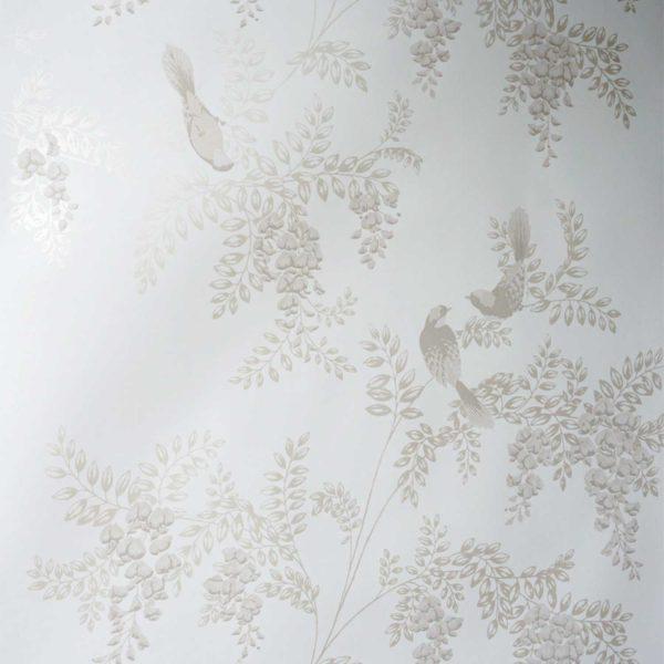 Wistera Birds on Milk Custom Wallpaper