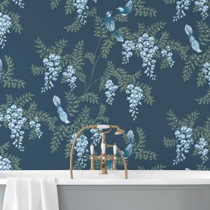 Wisteria Birds Custom Wallpaper Collection