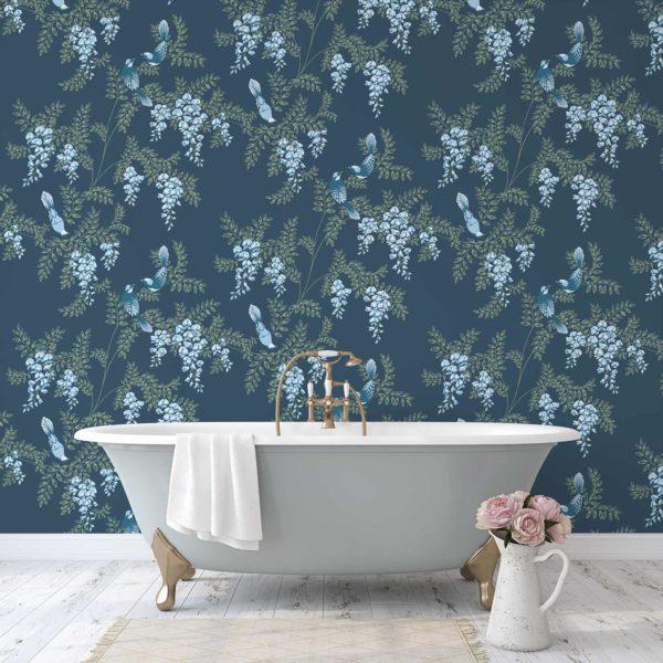 Wisteria Birds custom wallpaper